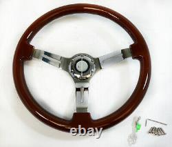 15 Chrome Steel Steering Wheel with Real Wood Full Wrap 6 Slots with Adaptor