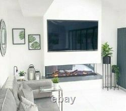 50 60 72 Inch Stunning Hd Panoramic Insert Electric Fire 3 Sided Full Glass New