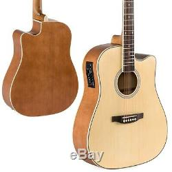 6 String Wood Full Size Acoustic Electric Cutaway Guitar Set 10Watt Amp Case Bag