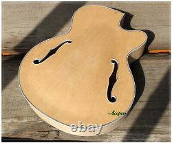 ACEPRO Full Hollow Body Single Cut Thick Maple Body F Holes DIY Electric Guitar
