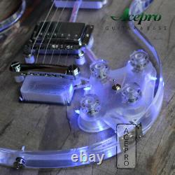 Acepro Full Acrylic Electric Guitar Blue LED Light Crystal Guitar Chrome Hardwar