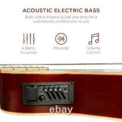 Acoustic Electric Bass Guitar 22-Fret with 4-Band Equalizer Solid Wood Full Size