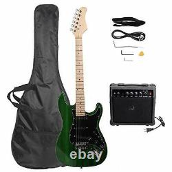Best Brand Full Size Black Electric Guitar with Amp Case for Beginner (Green)