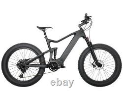 Carbon Fat Bike Electric Bicycle Bafang M620 1000W Full Suspension Ebike 16 9s
