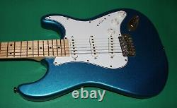 Electric Guitar Strato Style Metal Blue Large Headstock Replica Full Maple Neck
