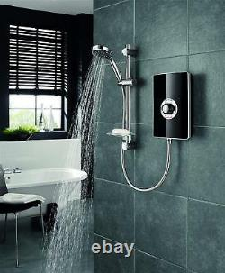 Electric Shower Triton System Control Water Pressure Power 9.5kW Black Gloss
