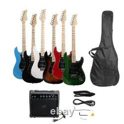 Full Size 39 6 Colors Electric Guitar with Amp, Case, Accessories Pack Beginner
