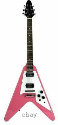 Full Size Right Handed Flying V Electric 6 String Guitar, Solid Wood Body