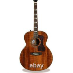 J Style Full Koa Electric Acoustic Guitar With 3 Electronics Real Abalone Inlay