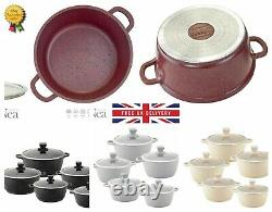 Marble Coated Die Cast Non-stick Casserole / Cooking Pot SINGLE PIECE / FULL SET