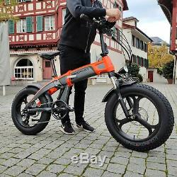 MaxFoot MF-19 Electric Bicycle 500W Full Suspension 20 Fat Tire Folding Bike