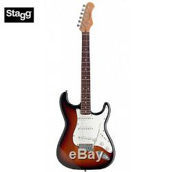 NEW Stagg S300-SB Standard ST Style Classic Full Size Electric Guitar Sunburst