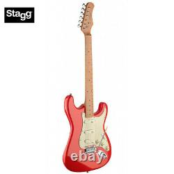 NEW Stagg SES50M-FRD Full Size ST Style Classic Electric Guitar Fiesta Red