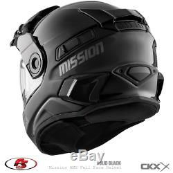 New 2020 CKX MISSION AMS FULL FACE HELMET with Electric Shield SOLID BLACK Size LG