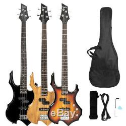 New 3 Colors Burning Fire Electric Bass Guitar Full Size 4 Strings with Bag