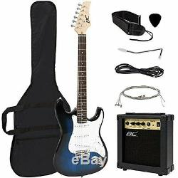 New Full Size Blue Electric Guitar Amp Case Beginner Right Handed Strings Pick