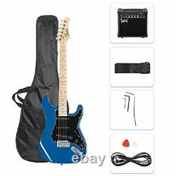 New Full Size Electric Guitar for Music Lover Beginner with 20W Amp Kit (Blue)