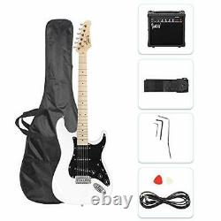 New Full Size Electric Guitar for Music Lover Beginner with 20W Amp Kit (White)