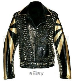 New Mens Electric Eye Punk Golden Full Spiked Studded Brando Leather Jacket