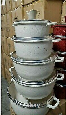 Non -Stick induction marble coated 20,24,28,30 32cm full set in cream