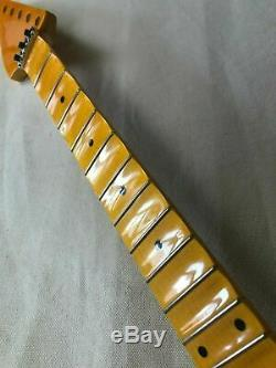 Reverse head Full scalloped Electric Guitar Neck part 24Fret Maple Locking nut