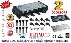The BEST Table Bench Top Electric BBQ Grill Full Stone & Grill 8 Pans Raclet NEW
