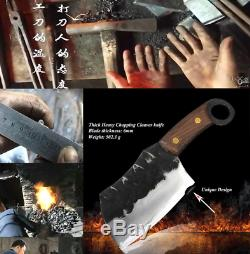 Thick Heavy Butcher Cleaver Knife Forged Steel Chop Bone Cut Full Tang Wood Hand