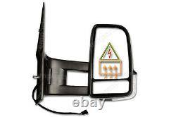 VW Crafter Full Door Wing Mirror Electric Black Long Arm O/S 2006 2018